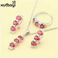 Alluring Red Imitation Ruby Fashion 925 Silver Jewelry Sets Glittering Necklace Rings Earrings Christmas Gift For Women