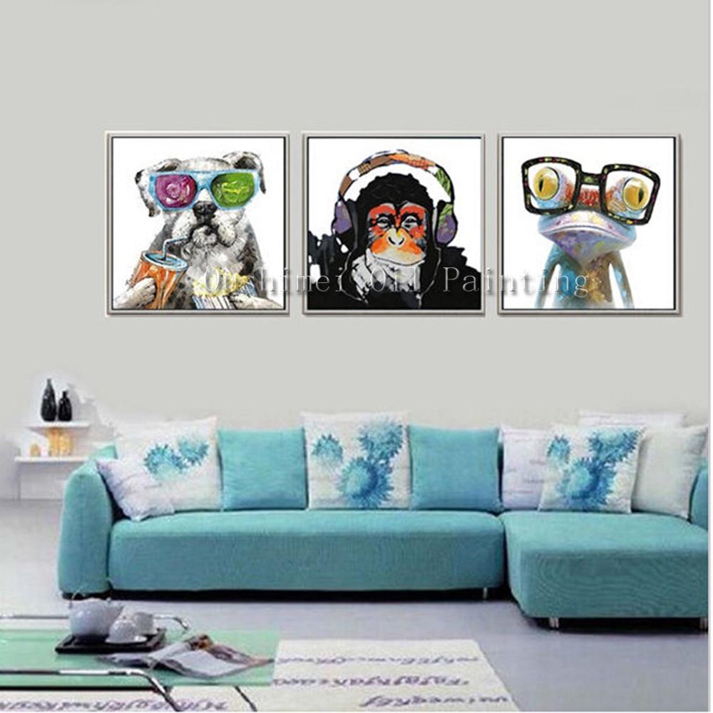 Əl boyalı mücərrəd heyvanlar yağlı boya kətan üzərində əl - Ev dekoru - Fotoqrafiya 1