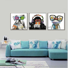 Hand Painted Abstract Animals Oil Painting on Canvas Handmade Wall Artwork Knife Palette Dog Monkey Frog Decor Canvas Paintings
