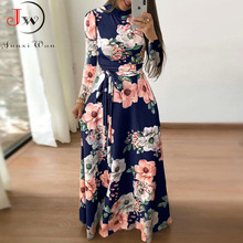 Women Summer Maxi Dress 2020 Casual Short Sleeve Boho Floral Print Long Dress Turtleneck Bandage Elegant Party Dresses Vestidos