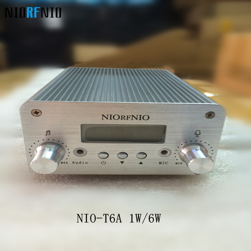 Free Shipping Hot Selling NIO-T6A 1W/6W Stereo PLL FM Transmitter FM Radio Amplifier free shipping nio t6t 1w 6w stereo audio fm amplifier kit professional transmitter with tf card
