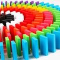 120 unids/lote Educativos Niños La Construcción de Bloques de Dominó De Madera del Arco Iris de Colores Tipo de Juego Juguetes de Niños Los Primeros Juguetes de Inteligencia De Madera