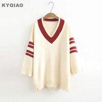 KYQIAO Weihnachten pullover frauen pullover weibliche herbst winter Japanischen adrette nette langarm v-ausschnitt strickwaren