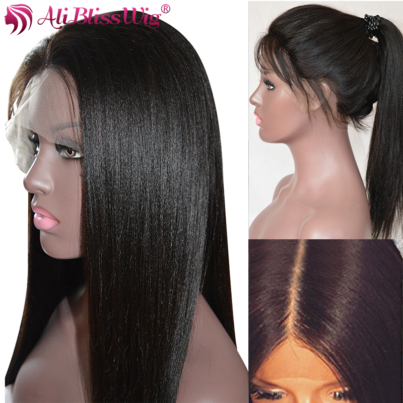 Glueless Yaki Straight Full Lace Human Hair Wigs For Women With Baby Hair Light Yaki Brazilian Remy Bleached Knots AliBlissWig(China)