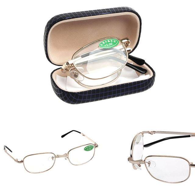 Women Men Metal Frame Folding Reading Glasses with Case Strengths +1.00 to +4.00