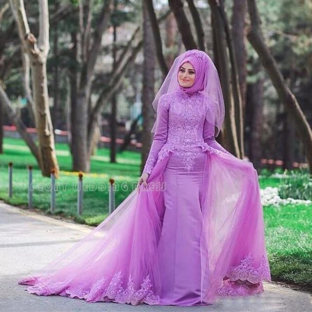 Colorful Lilac Lace Muslim Wedding Dresses Muslin Purple Wedding ...