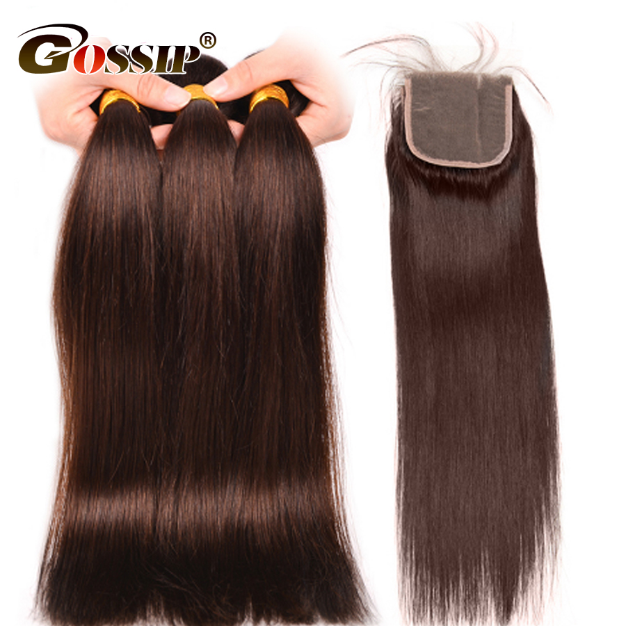 [Gossip Hair]#2 Brown Straight Human Hair Bundles With Closure Brazilian Hair Weave Bundles With Closure Non Remy Hair Extension
