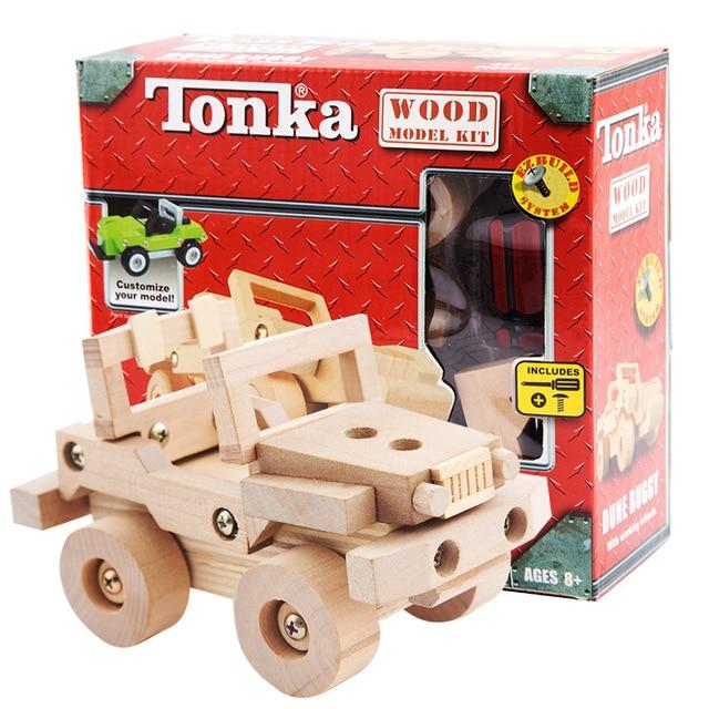 Kayu Meniduri Blok Motor Mobil Truk Kendaraan Dirakit Model DIY Kit Bangunan Anak Mainan Pendidikan Kreatif Hadiah
