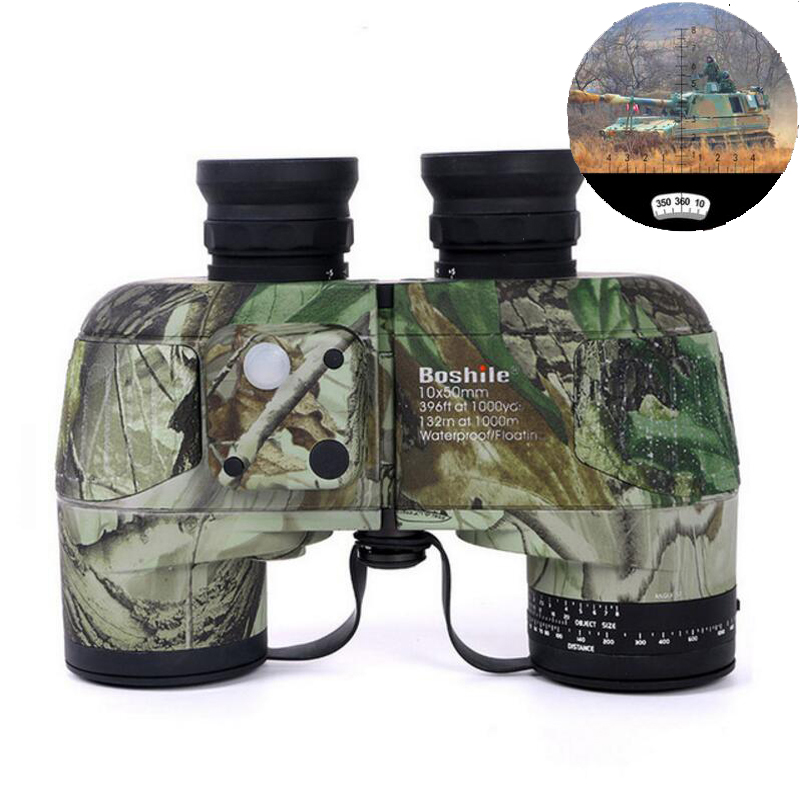Boshile HD Military Binoculars 10x50 Professional Marine Binoculo High Power Waterproof  Compass LLL Night Vision