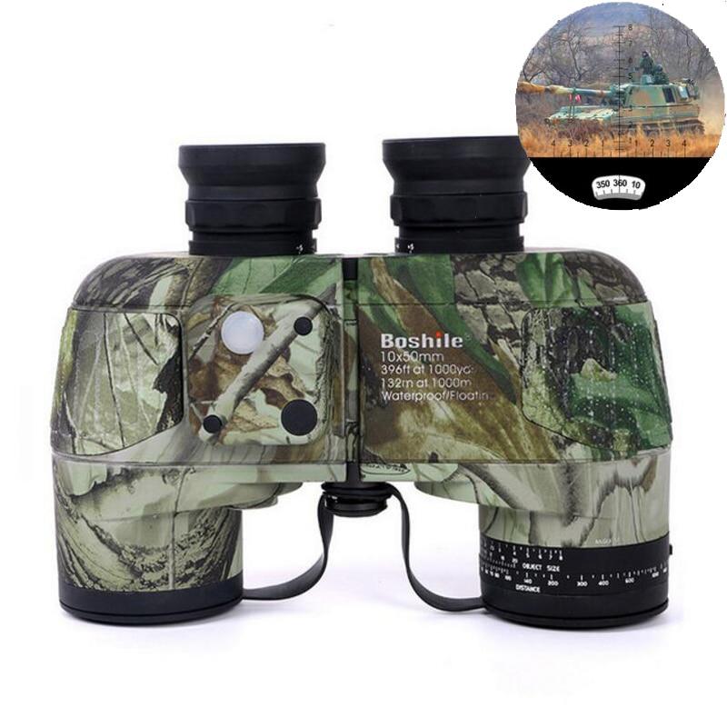 Boshile binoculars 10x50 Professional Marine binocular Waterproof with Compass Military High quality telescope Eyepiece focusing