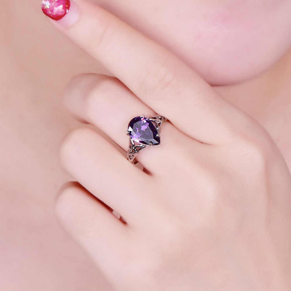 Lingmei vente chaude nouveauté charme goutte d'eau multicolore et violet CZ argent 925 bague taille 6 7 8 9 luxe mode femmes bijoux