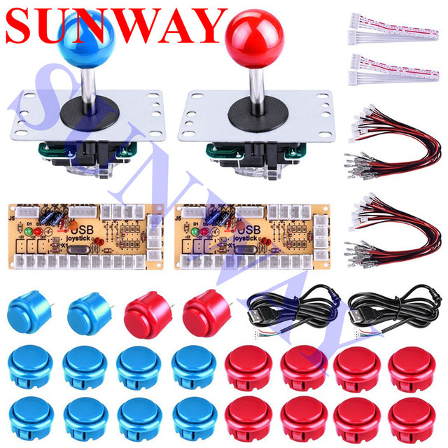 US $16 99 |2Player Arcade Buttons and Joystick DIY Controller Kit for  Windows and Raspberry Pi x 5 Pin Sanwa Joystick and Arcade buttons-in