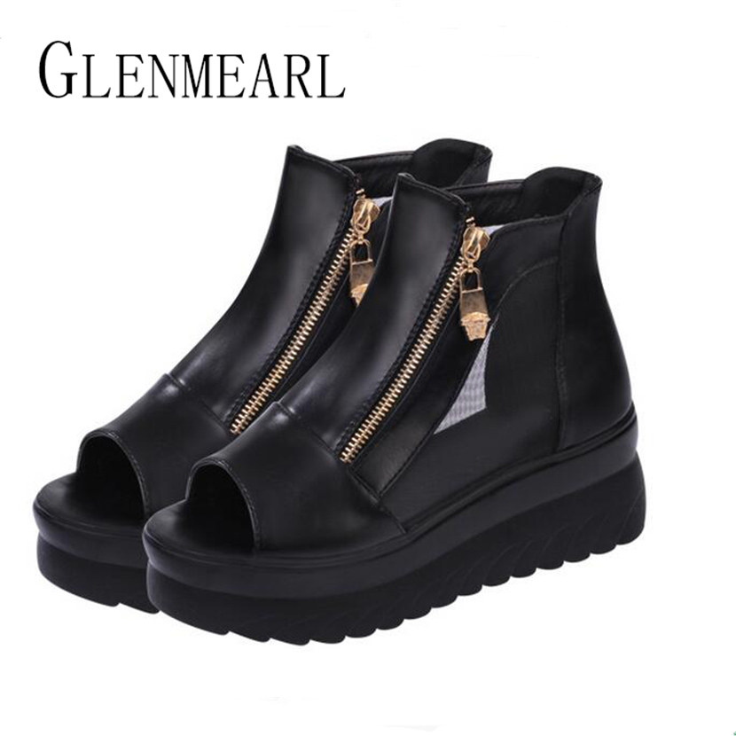 2018 Summer Rome Platform Women's Sandals Boots Shoes Fish Head Zip Thick With Wedge Sandals Female High-top Casual Shoes 30 slope with super high heels 14cm platform shoes sandals and slippers spring and summer fish head thick crust waterproof shoes