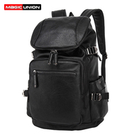 MAGIC UNION Fashio Leather Backpack Men S Casual Travel Bags Oil Wax Leather Laptop Bags College