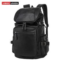 Magic union fashio mochila de cuero ocasional de los hombres bolsas de viaje bolsas para portátiles de cuero aceite de cera estilo de la universidad mochilas mochila con cremallera hombres