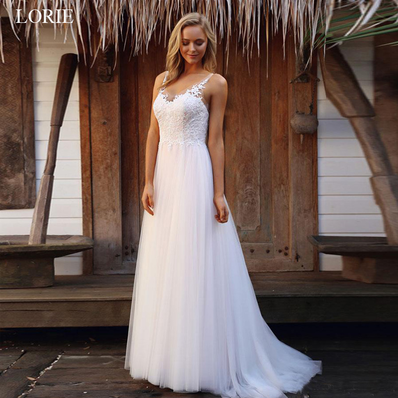 LORIE beach wedding dress 2019 appliques Lace and tulle vestido de casamento sexy open back wedding