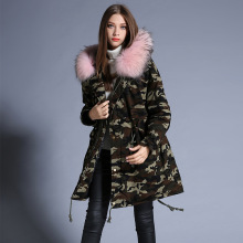Europe station Female Long section Big hair collar Camouflage Down jacket