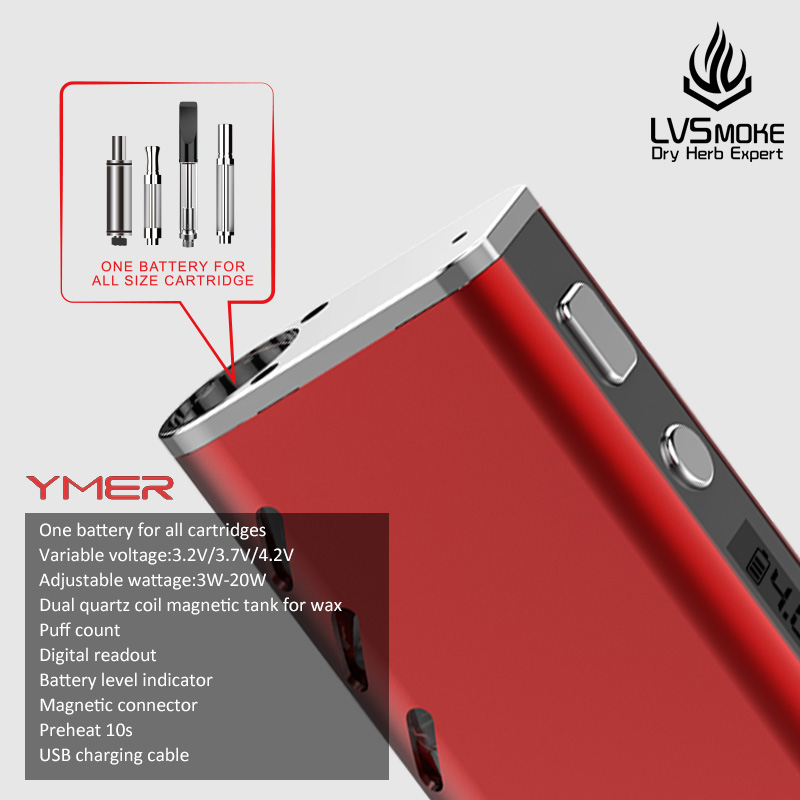 LvSmoke YMER CBD Vape Mod Electronic Cigarette 510 Thread 650mAh Battery  Box Mod for all Oil Cartridge Atomizers Vaporizer