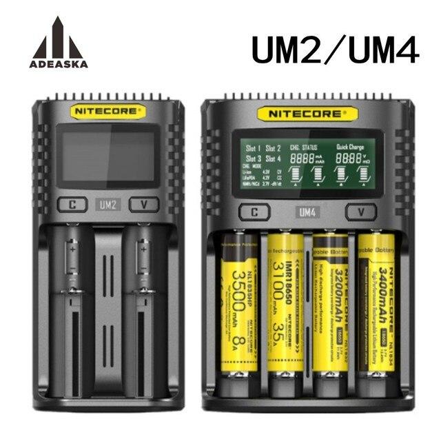 NITECORE UM4 UM2 C4 VC4 LCD Smart Battery Charger for Li ion/IMR/INR/ICR/LiFePO4 18650 14500 26650 AA 3.7 1.2V 1.5V Batteries D4