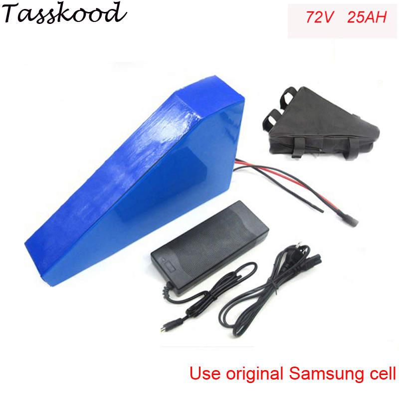 triangle lithium battery 72V 25Ah electric bike battery 72V 3000W electric bicycle battery with charger and bag For Samsung cell 72v 3000w lithium ion battery pack for scooter e motorcycle electric bike