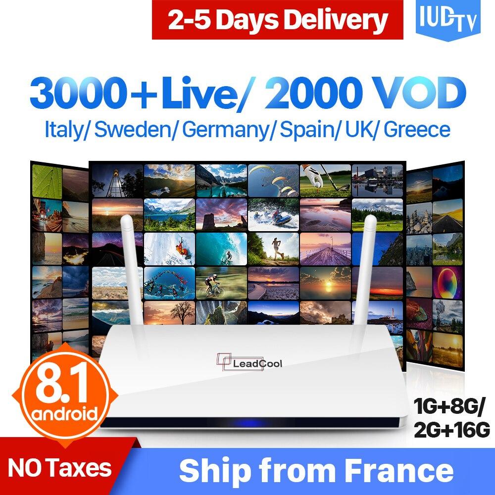 Leadcool IPTV nordique Android Box Quad-Core WIFI TV récepteur avec IUDTV 1 an IPTV abonnement suède UK italie espagne IP TV