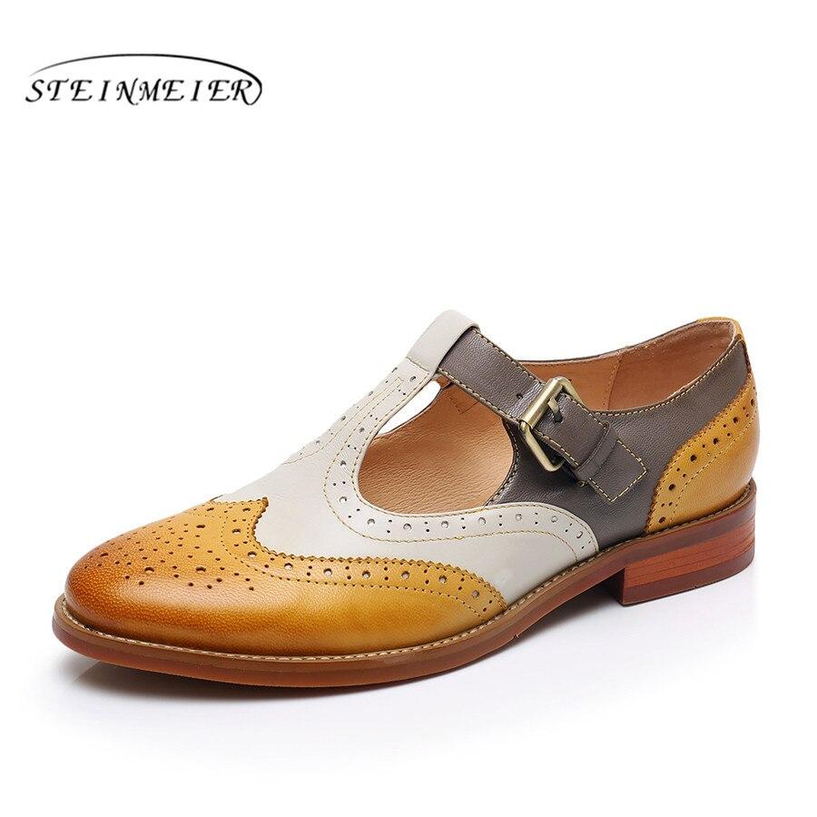 Yinzo kobiety mieszkania Oxford buty kobieta oryginalne skórzane buty sportowe damskie letnie Brogues w stylu Vintage buty w stylu casual buty dla kobiet w Damskie buty typu flats od Buty na  Grupa 1