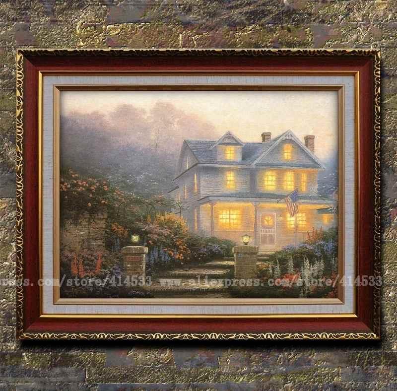 Popular victorian landscape painting buy cheap victorian landscape painting lots from china for Home interiors thomas kinkade prints