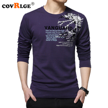 Covrlge Mens Long Sleeve T-shirt 2018 New Fashion Print T-shirts Plus Size Tee Shirt Homme Brand Clothing O-neck Tops MTL077