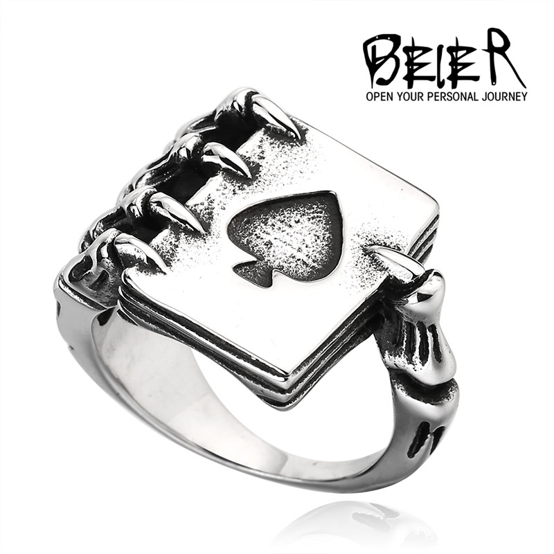 Beier new store 316L Stainless Steel ring top quality poker style dragon claw ring fashion jewelry LLBR8-256R
