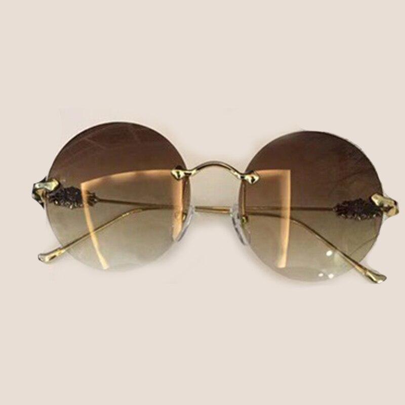 Rimless Round Sunglasses for Women High Quality with Packing Box Oculos De Sol Feminino Vintage Fashion Eyewear Female Sun Glass