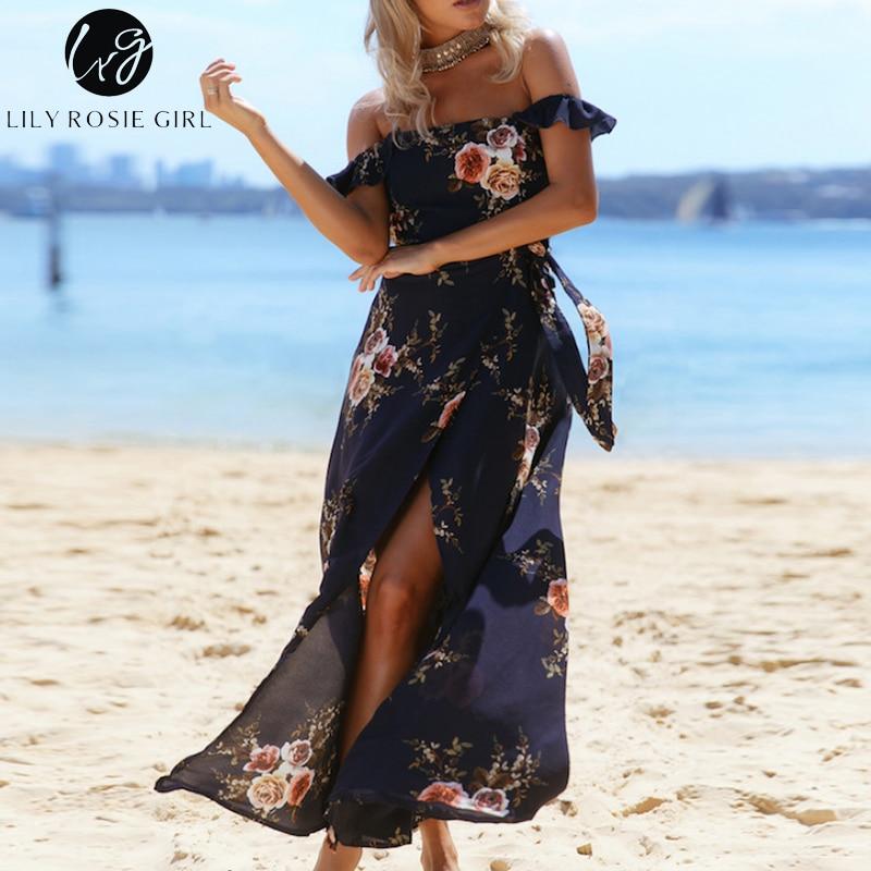 b01bebec2c555 US $16.99 50% OFF Aliexpress.com : Buy Lily Rosie Girl Off Shoulder Navy  Blue Floral Print Boho Dress Women Summer Beach Sexy Split Maxi Long White  ...