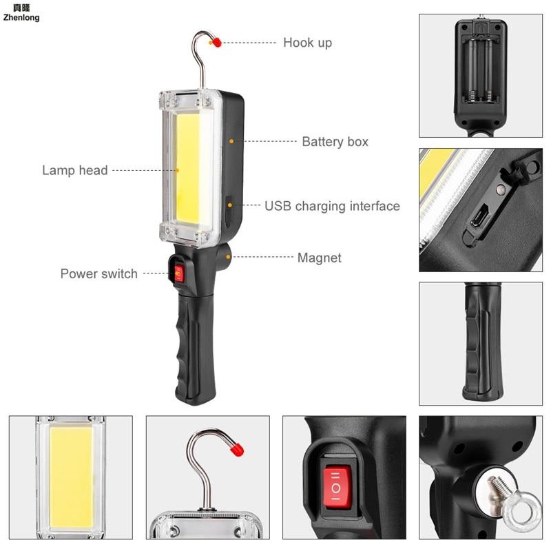 COB LED Flashlight Super Bright Magnet USB Flashlights Torch Work Light for Emergency Lighting Outdoor Car Repair Overhaul Lamp in LED Flashlights from Lights Lighting