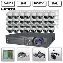 32 Ch Channel Full D1 DVR Safety Surveillance System 32 HD 1000TVL Dome Digital camera