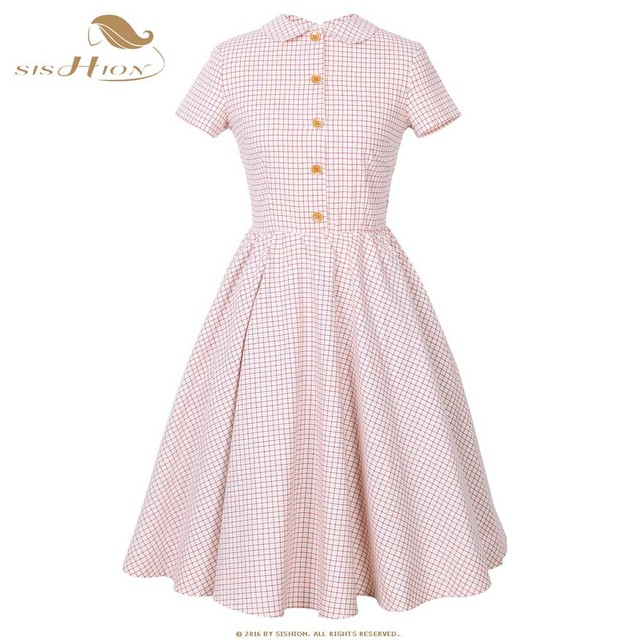 SISHION Short Sleeve Pink Plaid Dress Women Summer Button Decorated polo  Neck 1950s Tunic Pin Up