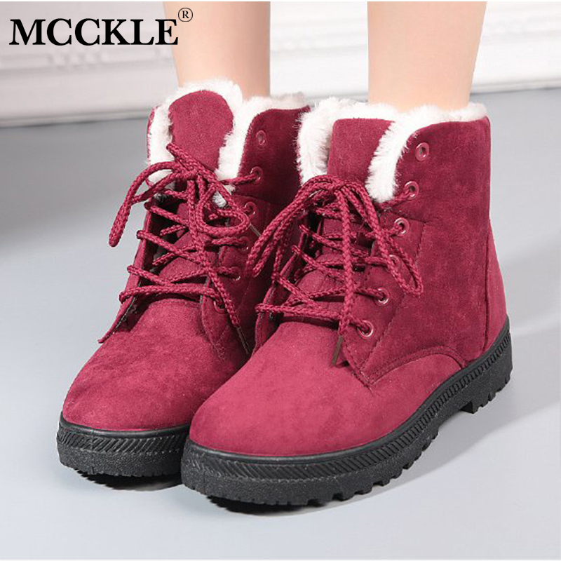 MCCKLE Women Winter Snow Boots Plus Size Platform Female Casual Ankle Boots Lace Up Flock Ladies Short Botas Low Heel Warm Shoes abcnovel a180 wireless 2 4ghz remote control presenter black silver 1 x aaa