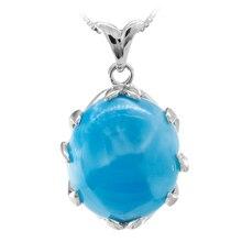 купить Natural larimar sterling silver pendant, big oval 16mm*18mm, deep blue color larimar fashion  and classical women's pendant онлайн