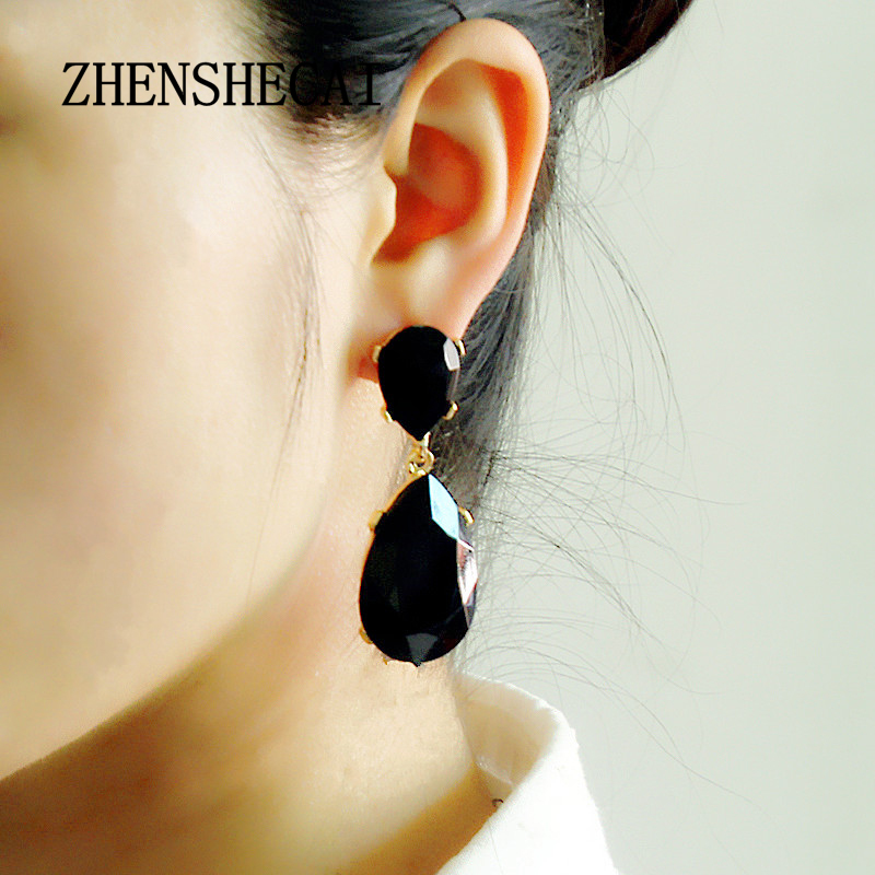 Big Gem Luxury Crystal Beads Trendy Boho Statement Long Earrings Handmade Wedding Engagement Drop Earrings Women