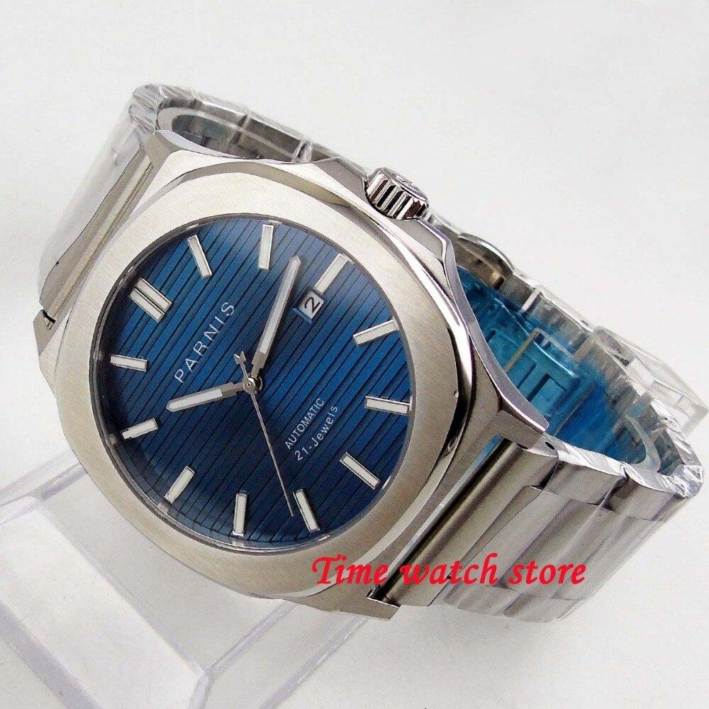 Parnis 44mm caja cuadrada esfera azul luminoso zafiro cristal pulsera 21 joya MIYOTA movimiento automático hombres reloj 1243-in Relojes mecánicos from Relojes de pulsera    1