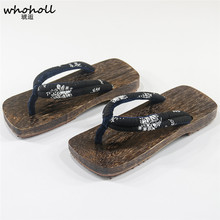 WHOHOLL man flip flops Japanese Style Clogs Wooden Slippers Summer Men Geta Kimono Flip-flops Home Anti-Slip Flat
