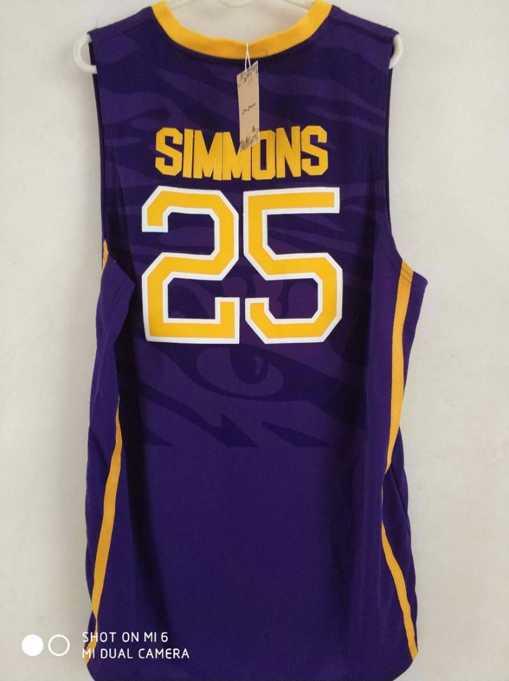 ca1d3337b0c ... do dower LSU Tigers 25 Ben Simmons WhiteYellowPurple Embroidery Stitched  College Basketball Jersey Size S- .