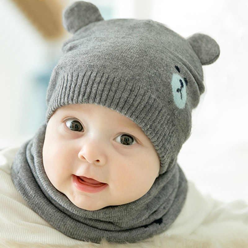 2Pcs Baby Hat Scarf Set Cat Bear Winter Warm Knit Baby Cap Bonnet Kids Hat  Caps b978e9238a3c