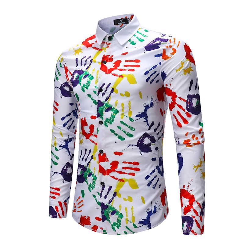 Cigna Weiß Lange ärmeln Shirt männer Baumwolle Leinen herren Hemd Mode Lässig Männlichen Tops Hand Druck Muster Dekoration Größe S 3XL