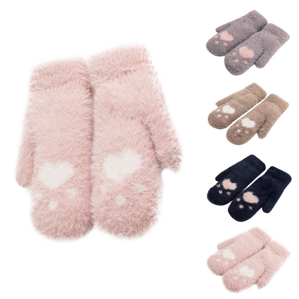 Lovely winter gloves women high quality pink bear cat plush paw gloves women warm winter thickened plush gloves gift