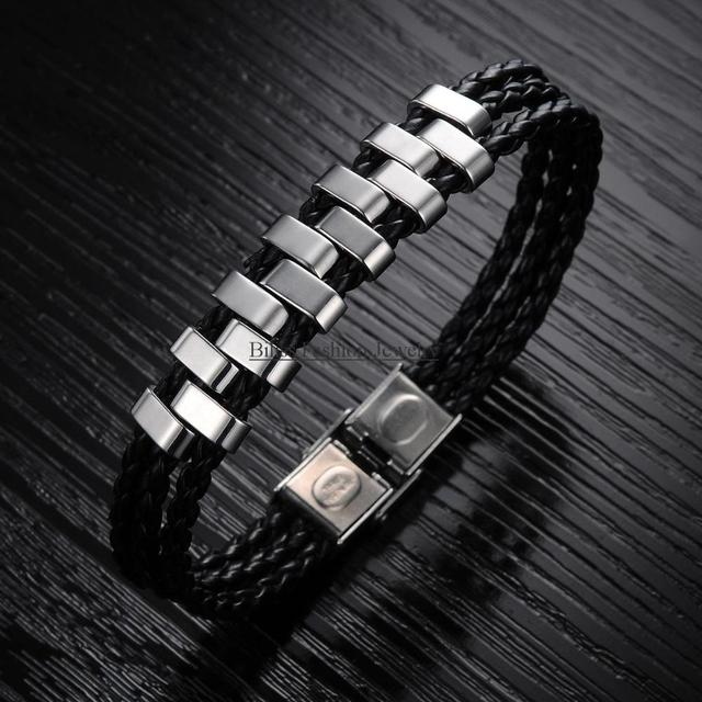 Newest Stainless Steel Strand Braided Leather Mens Womens Bracelet wrap Wristband 7.87 Inch, Silver Black Colour pulseira homens