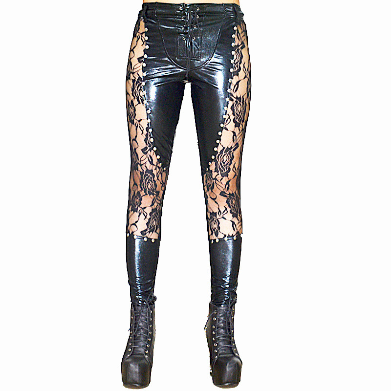 Sexy Women Punk Lace Rivet Pencil   Pants   PU Faux Leather Matte Gothic   Pants   Leggings Hollow   Capris   Club Dance Wear Plus Size F73