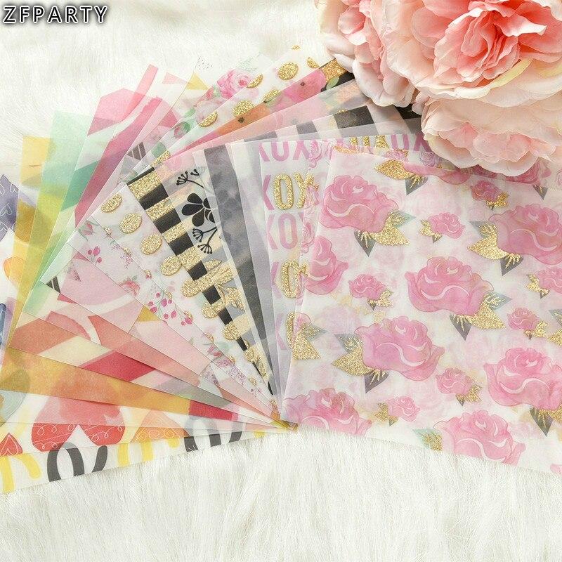ZFPARTY Fleurs Motif Vélin Papier Découpes pour Scrapbooking Heureux Planificateur/Fabrication De Cartes/Journalisation Projet