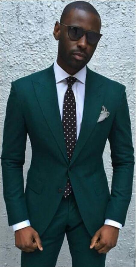 High Quality Dark Green Mens Suits Groom Tuxedos Groomsmen Wedding Party Dinner Best Man Suits (Jacket Pants Tie) K:2299
