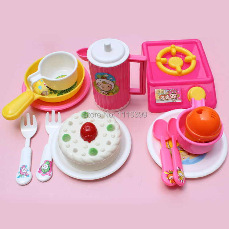 14pcs/set Simulation Tableware Cake Kitchen Toys Children