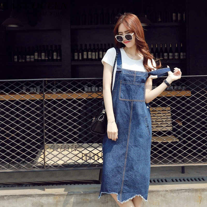 Chic Elegant Denim Sundress High Waist Casual Denim Dresses Women Loose  Sleeveless Slash Neck Vintage Dress cdac9b96a127