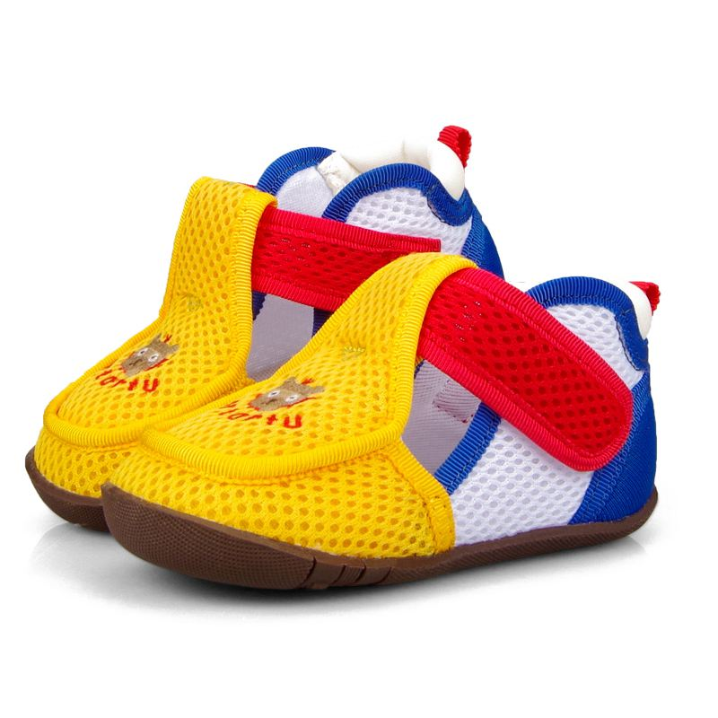 Crtartu Summer Style 1 Pair Blue+Yellow mesh yarn + rubber Car embroidery mesh breathable baby step shoes Baby Shoes